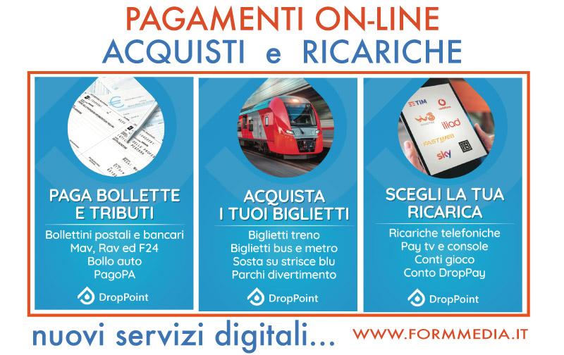 Servizi di Pagamento, ricariche telefoniche e Acquisto biglietti del treno - formmedia.it